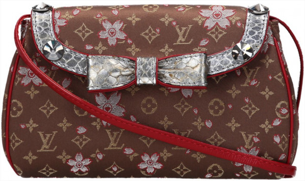LOUIS VUITTON GRIOTTE CLUTCH AUS MINI MONOGRAM SATIN CHERRY BLOSSOM CANVAS
